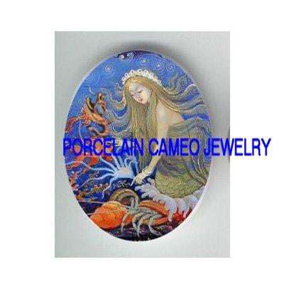 ROCOCO MERMAID SEAHORSE SEA DRAGON* UNSET PORCELAIN CAMEO CAB
