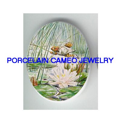 FROG FISHING WATER LILY POND* UNSET PORCELAIN CAMEO CAB