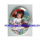 VICTORIAN RED HAT GIRL KITTY CAT APPLE BLOSSOMS* UNSET PORCELAIN CAMEO CAB