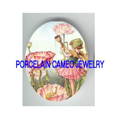 VICTORIAN PINK POPPY FLOWER FAIRY  * UNSET PORCELAIN CAMEO CAB