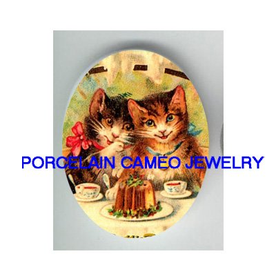 VICTORIAN 2 KITTY CAT CAKE TEA PARTY PORCELAIN CAMEO