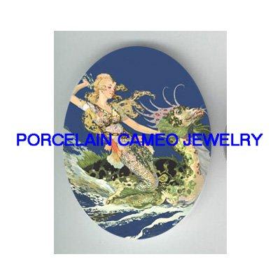 VICTORIAN MERMAID RIDING SEA DRAGON  * UNSET PORCELAIN CAMEO CAB