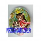 VICTORIAN MOM FEEDING KITTY CAT * UNSET PORCELAIN CAMEO CAB