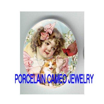 VICTORIAN PINK RIBBON GIRL KITTY CAT CARDINAL BIRD* UNSET PORCELAIN CAMEO CAB