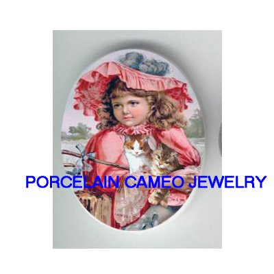 VICTORIAN RED HAT GIRL HOLD 2 KITTY CAT * UNSET PORCELAIN CAMEO CAB