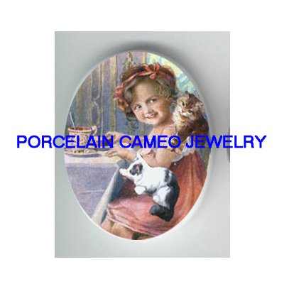VICTORIAN SWEET GIRL TEA PARTY 2KITTY CAT * UNSET PORCELAIN CAMEO CAB