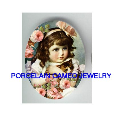 VICTORIAN ROSE GIRL HOLDING KITTY CAT * UNSET PORCELAIN CAMEO CAB