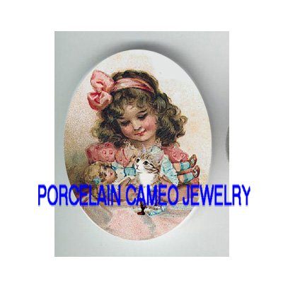 VICTORIAN PINK GIRL HOLD DOLL KITTY CAT * UNSET PORCELAIN CAMEO CAB