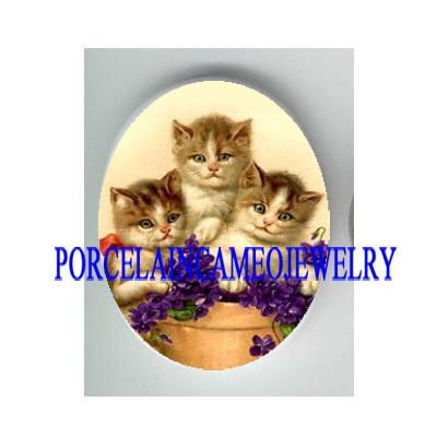 3 VICTORIAN KITTY CAT WITH VIOLET * UNSET PORCELAIN CAMEO CAB