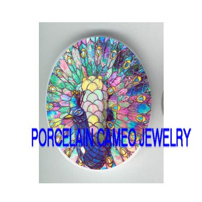 RAINBOW RETRO PEACOCK BIRD * UNSET PORCELAIN CAMEO CAB