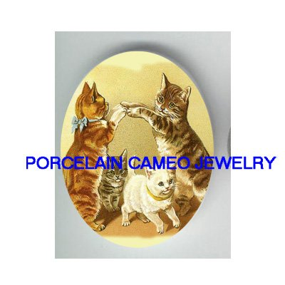4 VICTORIAN KITTY CAT PLAY GAME* UNSET PORCELAIN CAMEO CAB