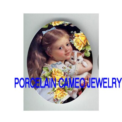VICTORIAN YELLOW ROSE GIRL HOLD KITTY CAT* UNSET PORCELAIN CAMEO CAB