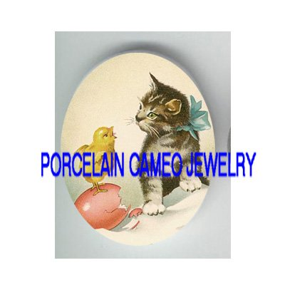 VICTORIAN KITTY CAT TALKING TO CHICK* UNSET PORCELAIN CAMEO CAB