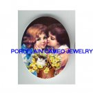 2 VICTORIAN KISSING SISTERS GIRL KITTY CAT  * UNSET PORCELAIN CAMEO CAB