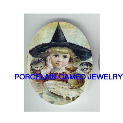 VICTORIAN WITCH HAT GIRL KITTY CAT MILK* UNSET PORCELAIN CAMEO CAB
