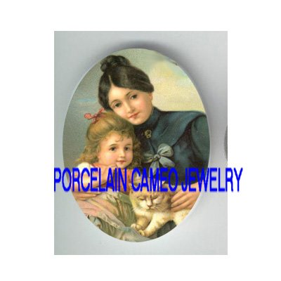 VICTORIAN MOM DAUGHTER KITTY CAT * UNSET PORCELAIN CAMEO CAB