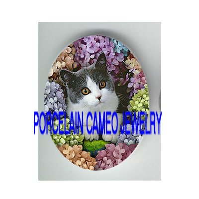 BLACK WHITE CAT COLORFUL HYDRANGEA * UNSET PORCELAIN CAMEO CAB