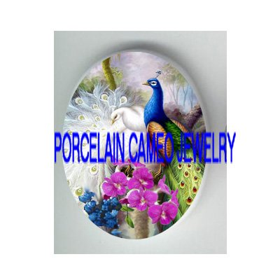 2 WHITE BLUE LOVING PEACOCK ORCHID PORCELAIN CAMEO CAB
