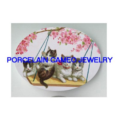 4 VICTORIAN KITTY CAT ON SWING CHERRY BLOSSOMS* UNSET PORCELAIN CAMEO CAB