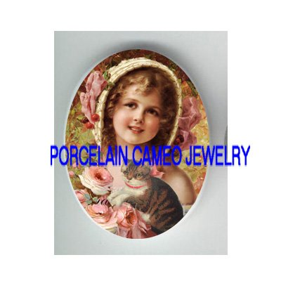 VICTORIAN CHERRY GIRL KITTY CAT ROSE* UNSET PORCELAIN CAMEO CAB