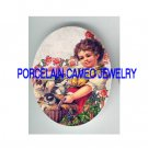 VICTORIAN FARM GIRL KITTY CAT BASKET PORCELAIN CAMEO