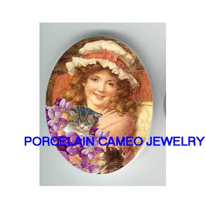 VICTORIAN GIRL HOLD KITTY CAT VIOLET * UNSET PORCELAIN CAMEO CAB