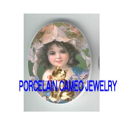 VICTORIAN GIRL KITTY CAT FORGET ME NOT * UNSET PORCELAIN CAMEO CAB