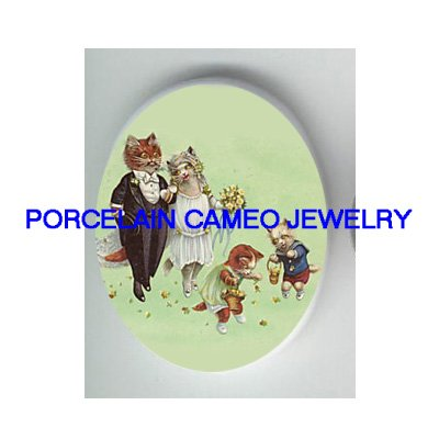 VICTORIAN KITTY CAT BRIDE GROOM WEDDING* UNSET PORCELAIN CAMEO CAB