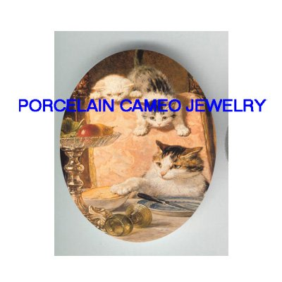 3 VICTORIAN KITTY CAT EAT FRUIT*  UNSET PORCELAIN CAMEO CAB
