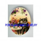 2 VICTORIAN ROMANCE COUPLE KITTY CAT * UNSET PORCELAIN CAMEO CAB