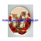 2 VICTORIAN  KITTY CAT PLAY POPPY* UNSET PORCELAIN CAMEO CAB