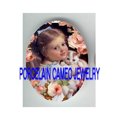 VICTORIAN GIRL KITTY CAT PINK ROSE PORCELAIN CAMEO CAB