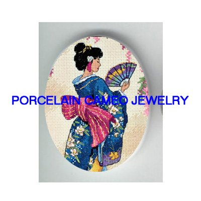 JAPAN DANCING GEISHA WITH FAN* UNSET PORCELAIN CAMEO CAB