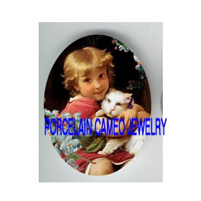 VICTORIAN GIRL KITTY CAT FORGET ME NOT* UNSET PORCELAIN CAMEO CAB