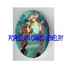 VICTORIAN SEASHELL MERMAID BIRD UNSET PORCELAIN CAMEO CAB