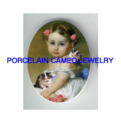 VICTORIAN PINK FLOWER GIRL 2 KITTY CAT PORCELAIN CAMEO CAB