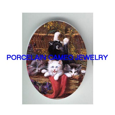 4 VICTORIAN KITTY CAT FLOWER BASKET * UNSET PORCELAIN CAMEO CAB