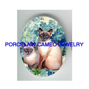 2 SIAMESE CAT FORGET ME NOT* UNSET PORCELAIN CAMEO CAB