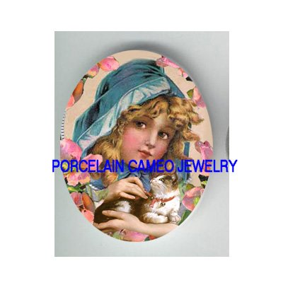 VICTORIAN BLUE HOOD  GIRL KITTY CAT  * UNSET PORCELAIN CAMEO CAB