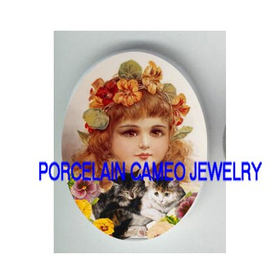 VICTORIAN PANSY GIRL KITTY CAT MOM BABY * UNSET PORCELAIN CAMEO CAB