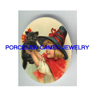 VICTORIA WITCH HAT GIRL WITH BLACK KITTY CAT * UNSET PORCELAIN CAMEO CAB