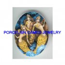 3 VICTORIAN JEWELED CROWN MERMAID SISTER * UNSET PORCELAIN CAMEO CAB