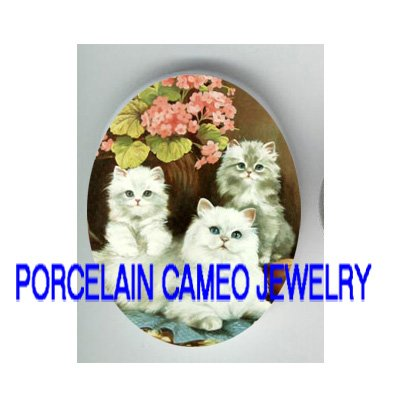 3 PERSIAN CAT FAMILY PINK FORGET ME NOT * UNSET PORCELAIN CAMEO CAB
