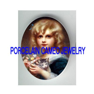 VICTORIAN GIRL KITTY CAT FLOWER PORCELAIN CAMEO CAB