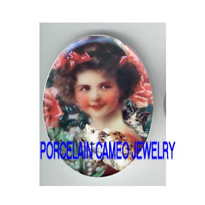 VICTORIAN ROSE GIRL 2 KITTY CAT LILY OF THE VALLEY* UNSET PORCELAIN CAMEO CAB