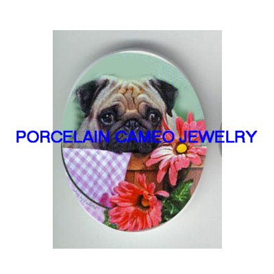 PUG DOG WITH DAISY FLOWER* UNSET PORCELAIN CAMEO CAB