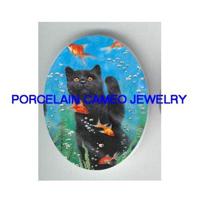 BLACK CAT CATCH GOLDFISH UNSET PORCELAIN CAMEO CAB