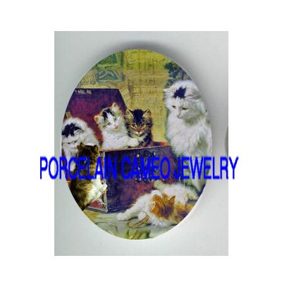 VICTORIAN KITTY CAT FAMILY PLAY JEWELRY TREASURE BOX* UNSET PORCELAIN CAMEO CAB