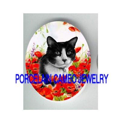BLACK WHITE CAT POPPY POPPIES* UNSET PORCELAIN CAMEO CAB