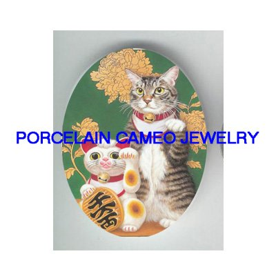 JAPAN MONEY LUCKY KITTY CAT* UNSET PORCELAIN CAMEO CAB
